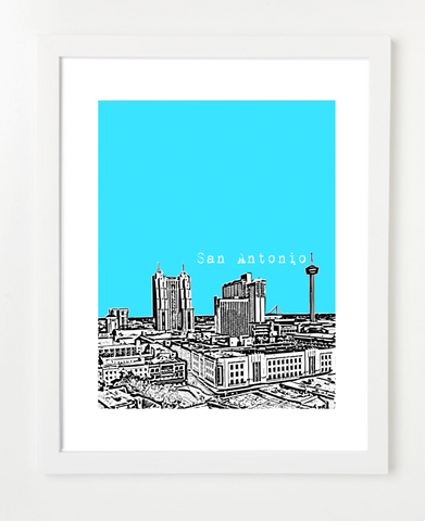 San Antonio Texas Skyline Art Print and Poster | By BirdAve Posters