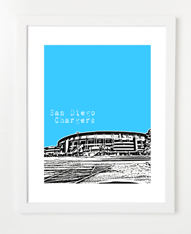 San Diego Chargers Qualcomm Stadium Skyline Art Print and Poster | By BirdAve Posters