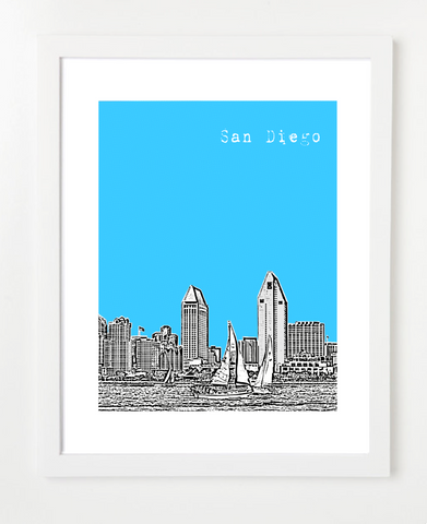 San Diego California USA Skyline Art Print and Poster | By BirdAve Posters