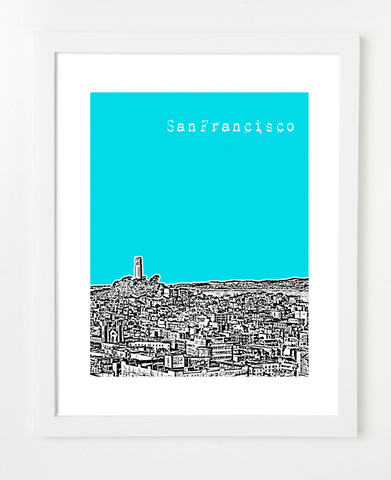 San Francisco California Coit Tower Skyline Art Print and Poster | By BirdAve Posters