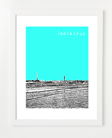 Santa Cruz California USA Skyline Art Print and Poster | By BirdAve Posters