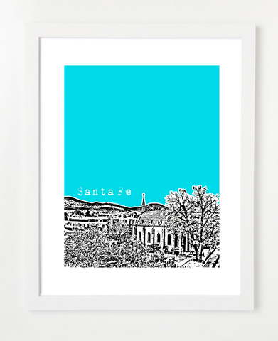 Santa Fe New Mexico Skyline Art Print and Poster | By BirdAve Posters