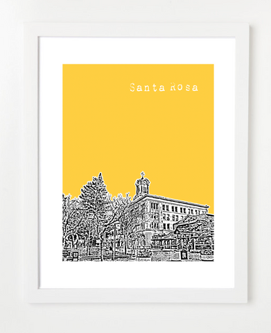 Santa Rosa California USA Skyline Art Print and Poster | By BirdAve Posters