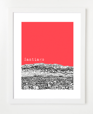 Santiago Chile Latin America Posters and Skyline Art Prints | By BirdAve