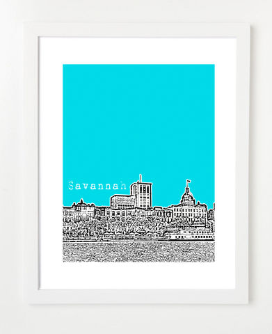 Savannah Georgia Skyline Art Print and Poster | By BirdAve Posters