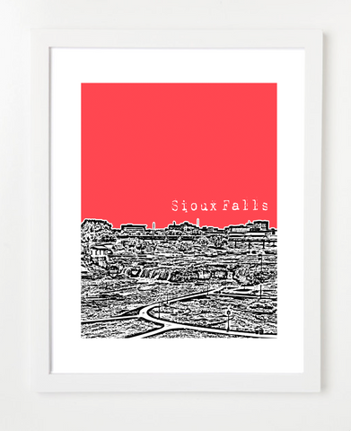 Sioux Falls South Dakota Skyline Art Print and Poster | By BirdAve Posters