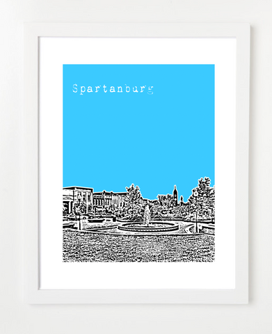 Spartanburg South Carolina Skyline Art Print and Poster | By BirdAve Posters