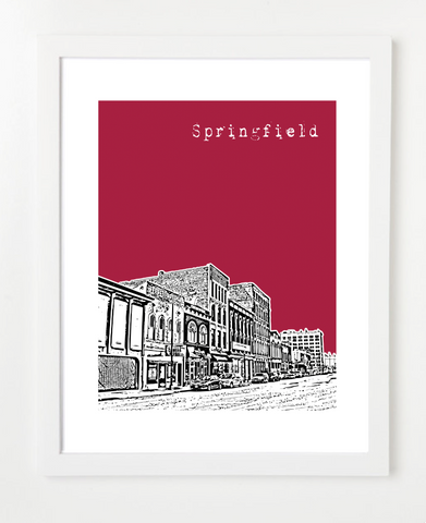 Springfield Missouri State University Skyline Art Print and Poster | By BirdAve Posters