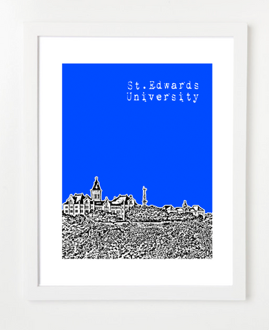 Austin Texas St. Edward's University Skyline Art Print and Poster | By BirdAve Posters