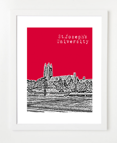 St Joseph's University Skyline Art Print and Poster | By BirdAve Posters