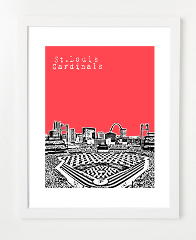 St. Louis Cardinals Busch Stadium Skyline Art Print and Poster | By BirdAve Posters