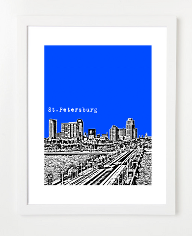 St. Petersburg Florida Skyline Art Print and Poster | By BirdAve Posters