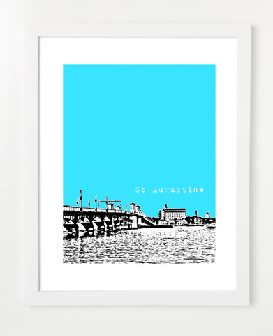 St. Augustine Florida Skyline Art Print and Poster | By BirdAve Posters