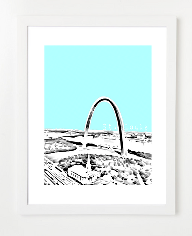 St Louis Missouri Gateway Arch View Skyline Art Print and Poster | By BirdAve Posters