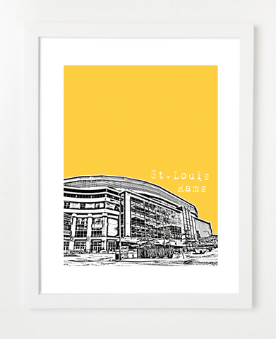 St Louis Rams Edward Jones Dome Skyline Art Print and Poster | By BirdAve Posters