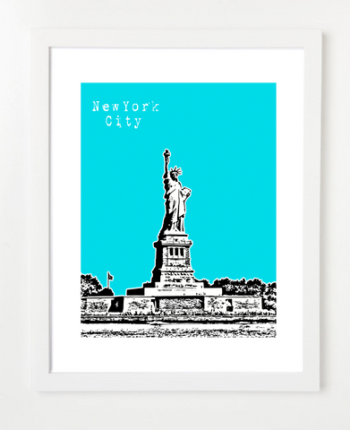 Statue of Liberty New York City Skyline Art Print and Poster | By BirdAve Posters