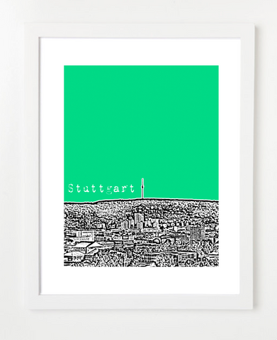 Stuttgart Germany Europe Posters and Skyline Art Prints | By BirdAve