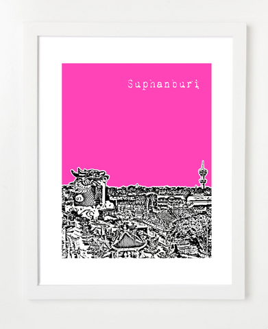 Suphanburi Thailand Asia Posters and Skyline Art Prints | By BirdAve