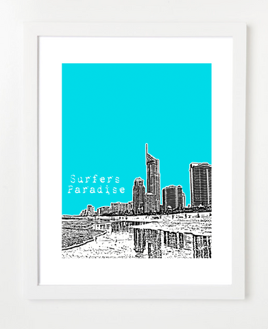 Surfers Paradise Australia Posters and Skyline Art Prints | By BirdAve