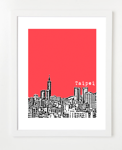 Taipei Taiwan Asia Posters and Skyline Art Prints | By BirdAve