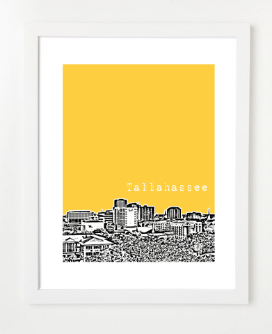 Tallahassee Florida USA Skyline Art Print and Poster | By BirdAve Posters