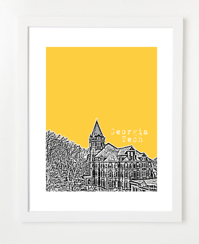 Atlanta Georgia Georgia Tech Skyline Art Print and Poster | By BirdAve Posters