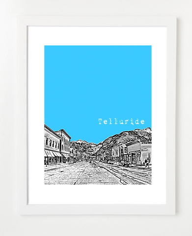 Telluride Colorado USA Skyline Art Print and Poster | By BirdAve Posters