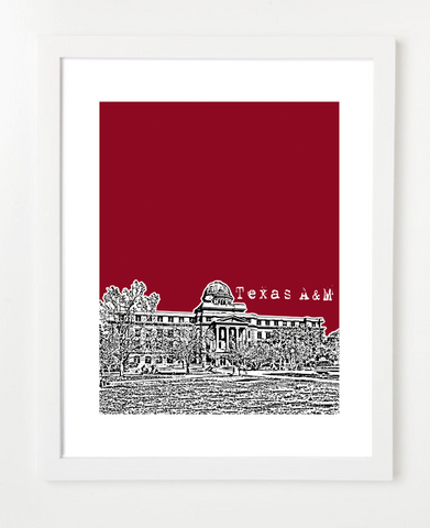 College Station Texas A&M University Aggies Skyline Art Print and Poster | By BirdAve Posters