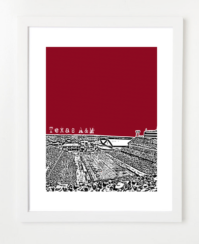 Texas A&M Poster Kyle Field Skyline Art Print and Poster | By BirdAve Posters