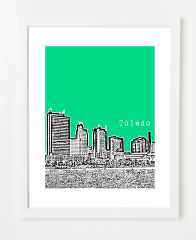 Toledo Ohio Skyline Art Print and Poster | By BirdAve Posters