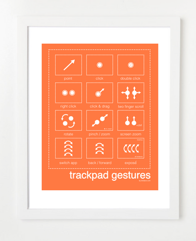 Mac Trackpad Gestures Orange Posters and Skyline Art Prints | By BirdAve