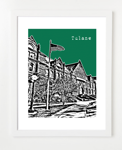 New Orleans Louisiana Tulane University  Skyline Art Print and Poster | By BirdAve Posters