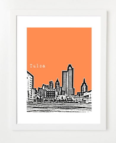 Tulsa Oklahoma Skyline Art Print and Poster | By BirdAve Posters