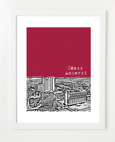 Amherst Massachusetts UMass Skyline Art Print and Poster | By BirdAve Posters