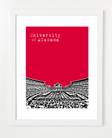 University of Alabama Crimson Tide Football Bryant Denny Stadium Skyline Art Print and Poster | By BirdAve Posters