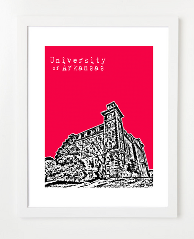 University of Arkansas Fayetteville Skyline Art Print and Poster | By BirdAve Posters