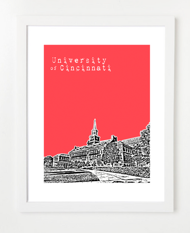 University of Cincinnati Skyline Art Print and Poster | By BirdAve Posters