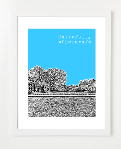 Newark Delaware USA Poster University of Delaware Skyline Art Print and Poster | By BirdAve Posters
