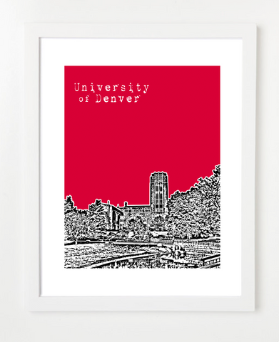 Denver Colorado University of Denver Skyline Art Print and Poster | By BirdAve Posters