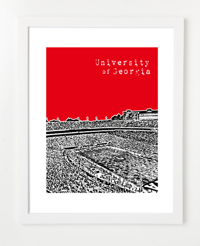 University of Georgia Bulldogs Football Sanford Stadium Skyline Art Print and Poster | By BirdAve Posters