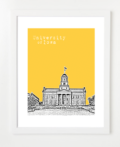 Iowa City University of Iowa Skyline Art Print and Poster | By BirdAve Posters