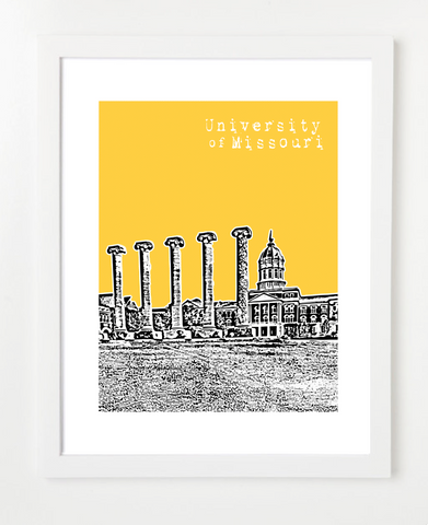Columbia Missouri University of Missouri Skyline Art Print and Poster | By BirdAve Posters