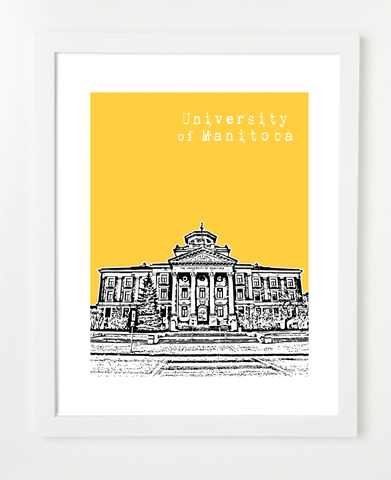 University of Manitoba Canada Posters and Skyline Art Prints | By BirdAve Posters