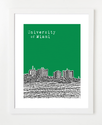 University of Miami Hurricanes Coral Gables Skyline Art Print and Poster | By BirdAve Posters