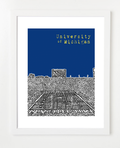 University of Michigan Michigan Stadium Skyline Art Print and Poster | By BirdAve Posters