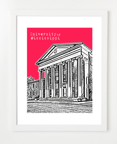 University of Mississippi Ole Miss Oxford Mississippi Skyline Art Print and Poster | By BirdAve Posters
