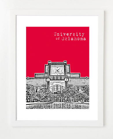University of Oklahoma Memorial Stadium  Skyline Art Print and Poster | By BirdAve Posters