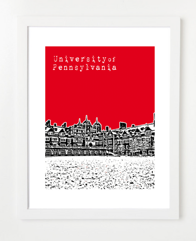 University of Pennsylvania Skyline Art Print and Poster | By BirdAve Posters