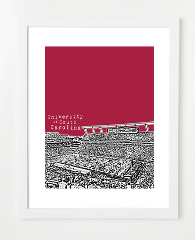 University of South Carolina Gamecocks Williams Brice Stadium Skyline Art Print and Poster | By BirdAve Posters