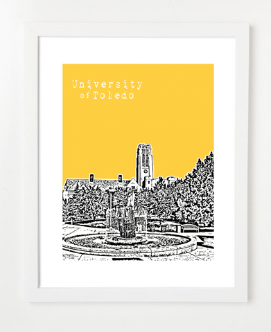 University of Toledo Skyline Art Print and Poster | By BirdAve Posters